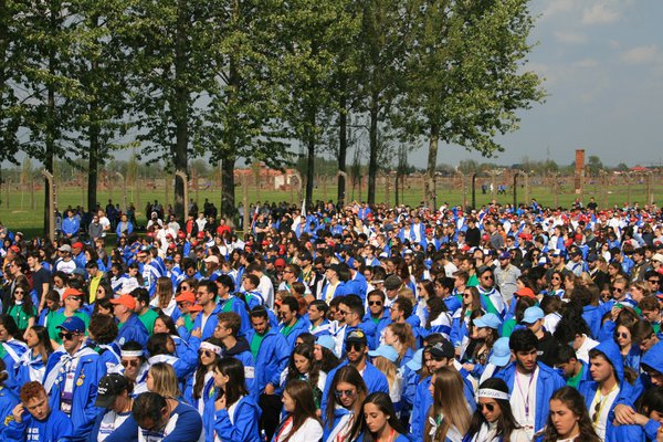 Jewish youth attending the International March of the Living in former Nazi extermination camp in Birkenau. thumbnail