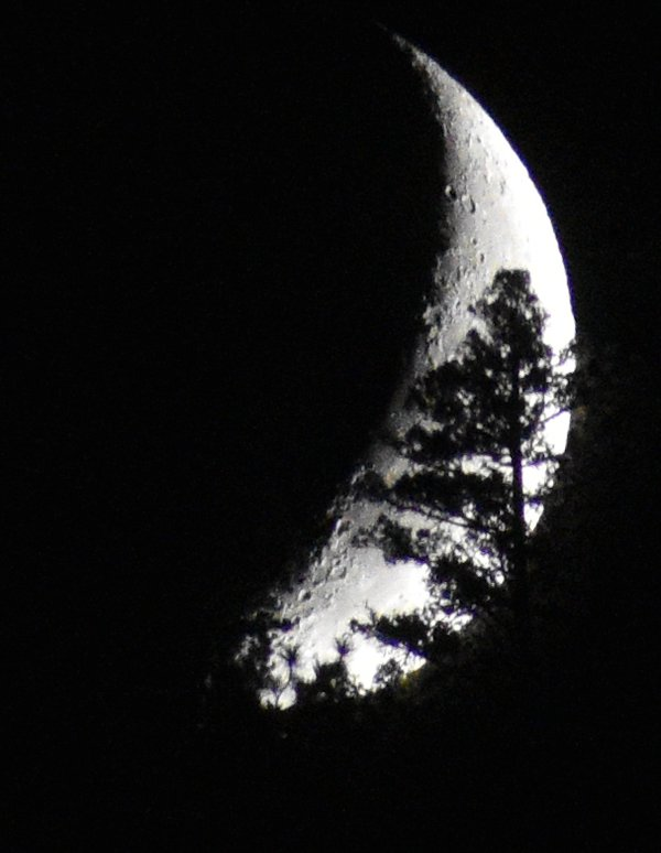 Crescent moon setting behind the hills thumbnail