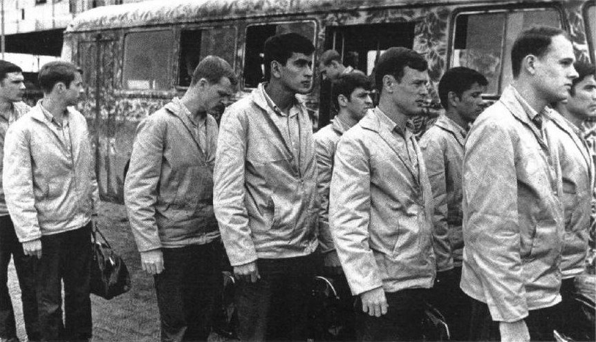 American POWs in North Vietnam lining up for release on March 27, 1973