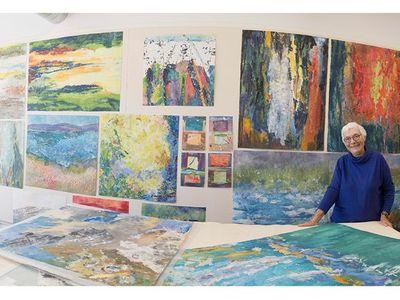 Fiber artist Barbara Lee Smith in her studio.