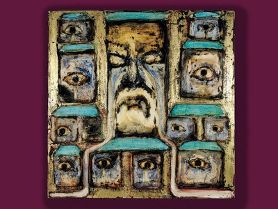 A detail of Toledo's self-portrait Eye of the Beholder (2017) uses gold leaf in a grid of refracted identities. All artwork used with permission of the artist.