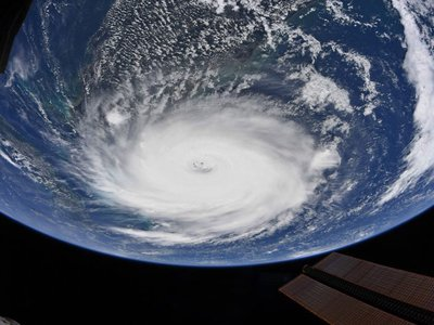 Astronaut Christina Koch of the International Space Station captured this image of Hurricane Dorian outside the space station's windows the morning of Sept. 2, 2019.