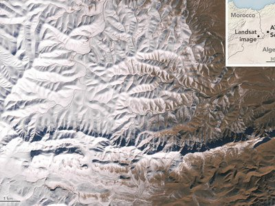 This image from the Landsat 7 satellite depicts snow near the border of Morocco and Algeria, south of the city of Bouarfa and southwest of Ain Sefra.