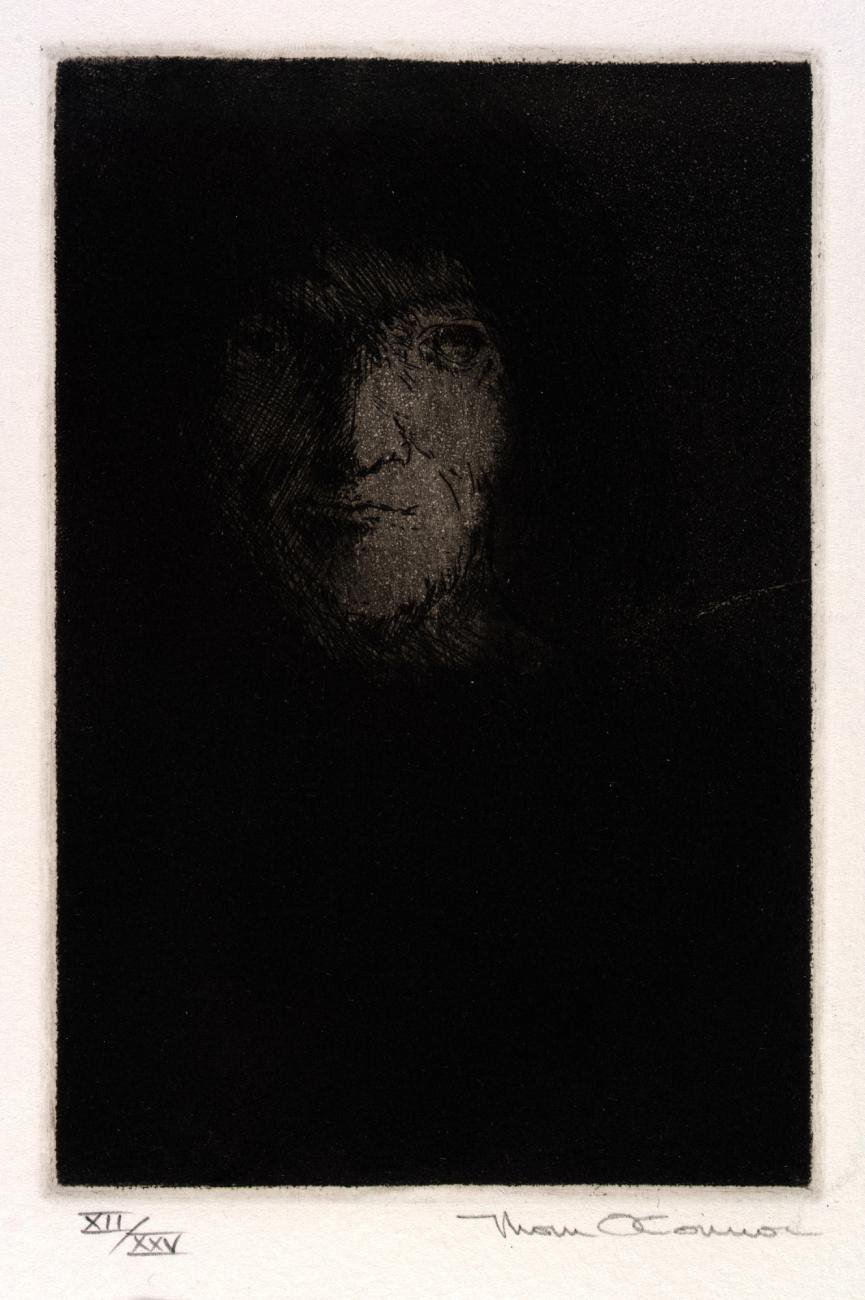 An etching of a face with the rest of the body in shadow.