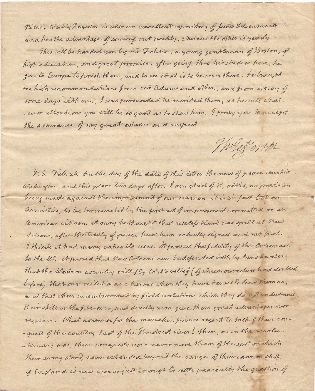 Family Discovers Rare Letters by Thomas Jefferson