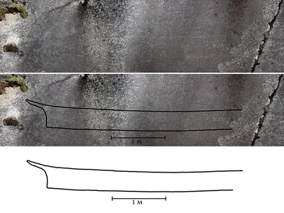 This tracing shows the shape of the carving, which is only visible under certain weather conditions.