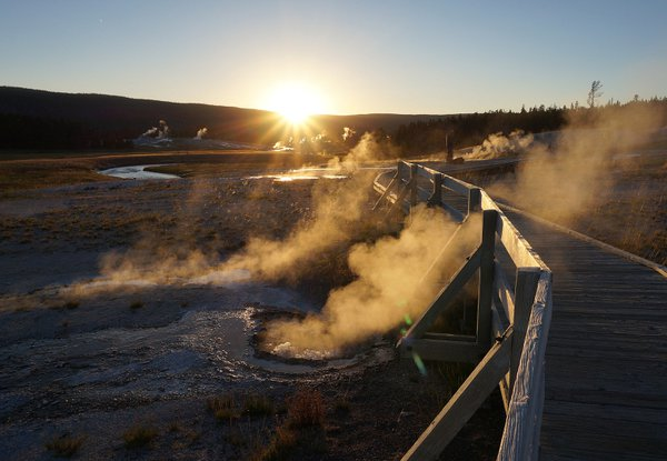 The last sunlight shining on the Upper Geyser Basin.  thumbnail