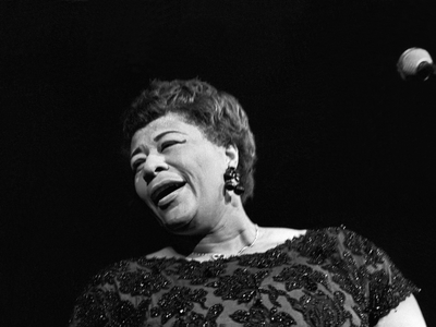 Ella Fitzgerald performs in Copenhagen, Denmark, in 1961.