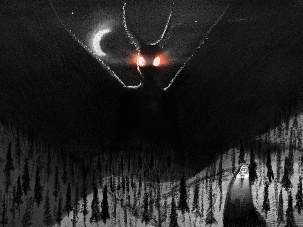 Digital illustration of a large mothlike figure, flying above a forested area and a single car driving down a road at nights. Its eyes are glowing red.