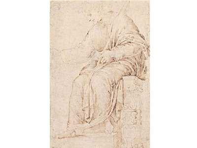 """Michelangelo likely sketched """"The Seated Man"""" while working as an apprentice in Domenico Ghirlandaio's studio"""