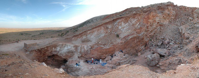 View looking south of the Jebel Irhoud site in Morocco, where the fossils were found