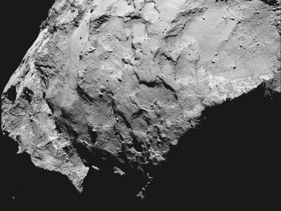 The primary landing site of Rosetta's Philae lander on Comet 67P/Churyumov–Gerasimenko is marked with a cross.