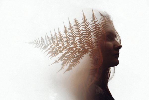 A double exposure of my sister with autumn ferns thumbnail