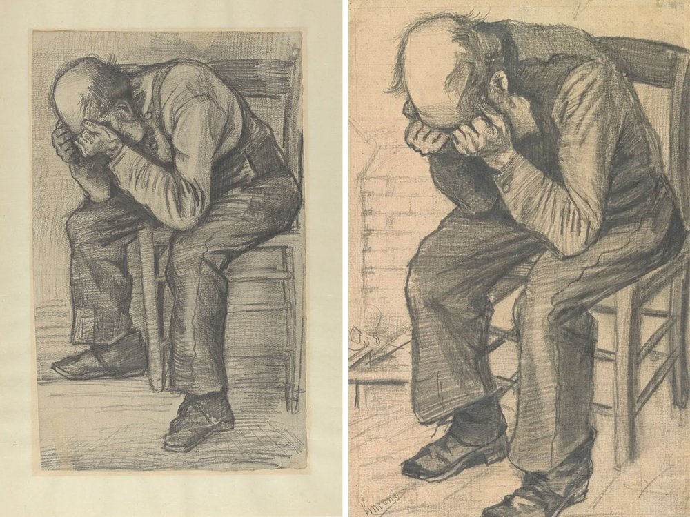The newly authenticated sketch (left) and the final drawing, titled Worn Out (right)