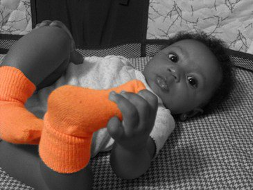 Black and white photo with colored socks thumbnail