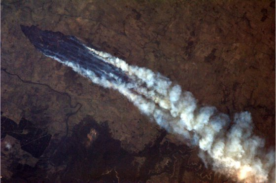 The ongoing fires as seen by astronaut Chris Hadfield