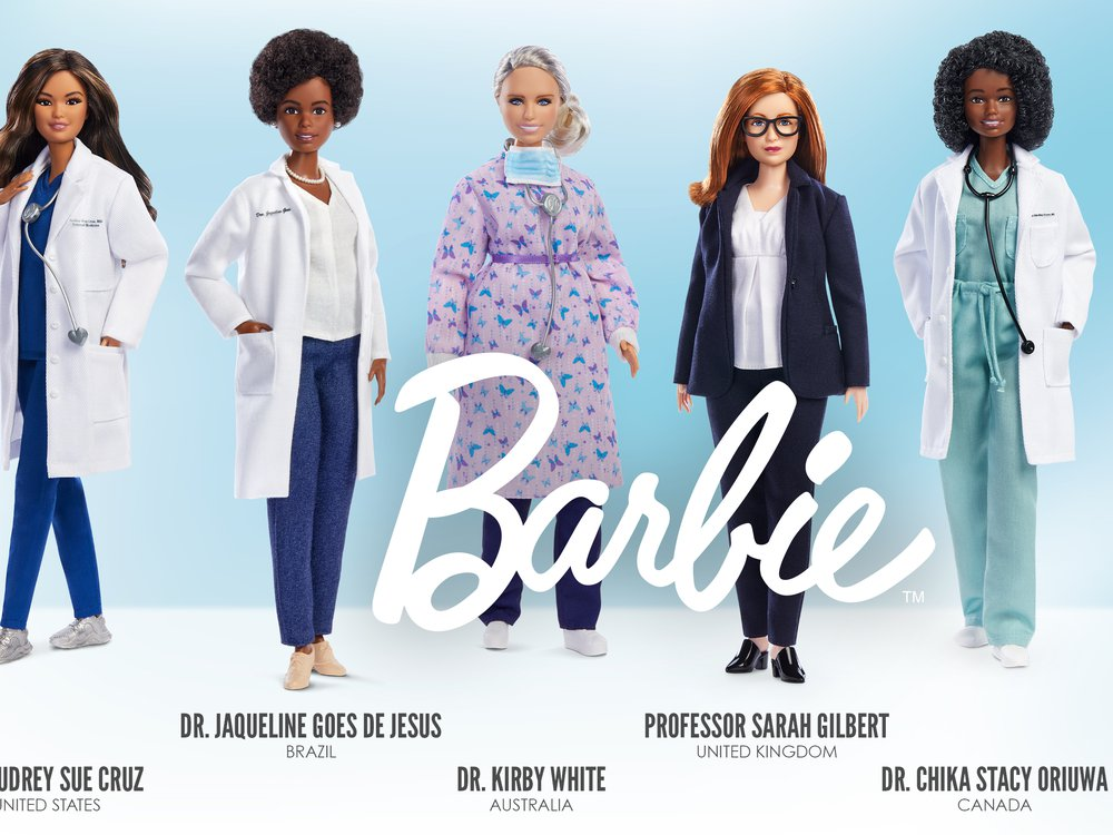 A photo of six Barbie dolls reach representing a frontline worker who worked during the covid-19 pandemic