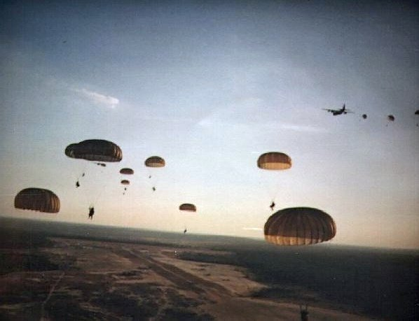 U.S. paratroopers drop into Grenada