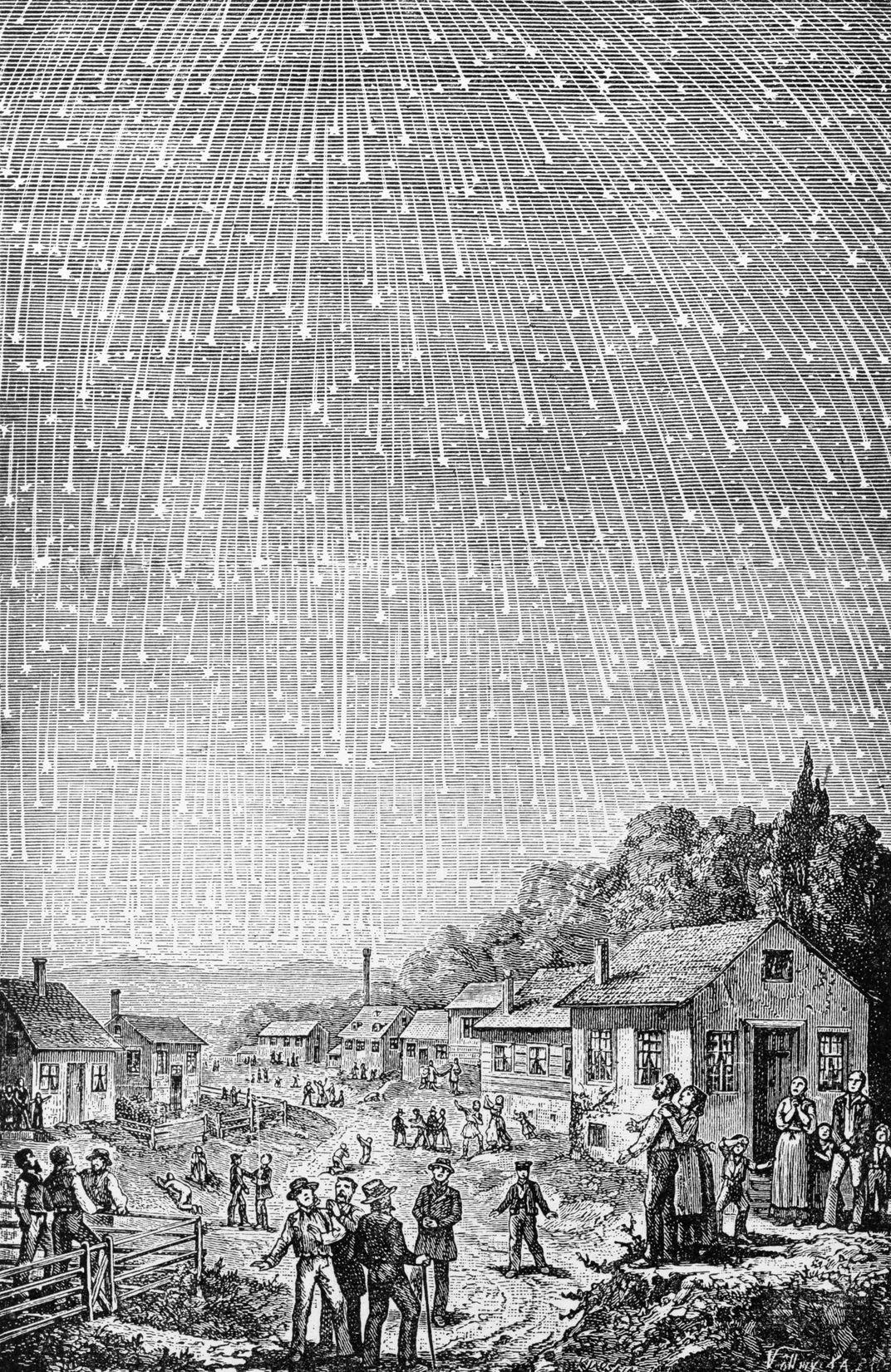 Leonid meteor shower over rural town. 1833. Via Corbis.