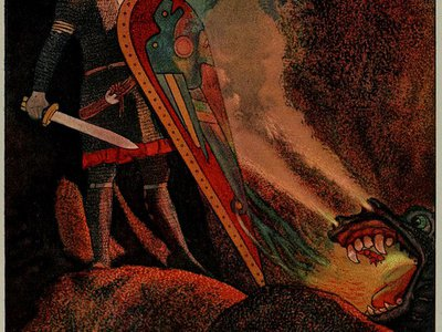 Beowulf face to face with fire-breathing dragon