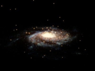 The positions of the globular clusters used to estimate the mass of the Milky Way.