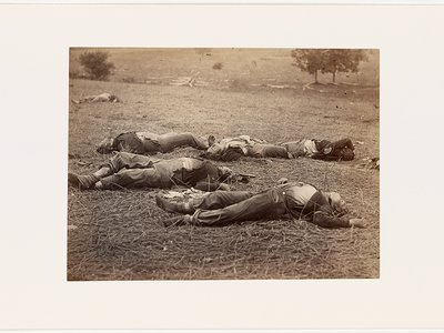 The title of Gardner's photograph (taken with Timothy O'Sullivan) Field Where General Reynolds Fell, Gettysburg, July 1863 was added later to capitalize on the famous general's heroism.