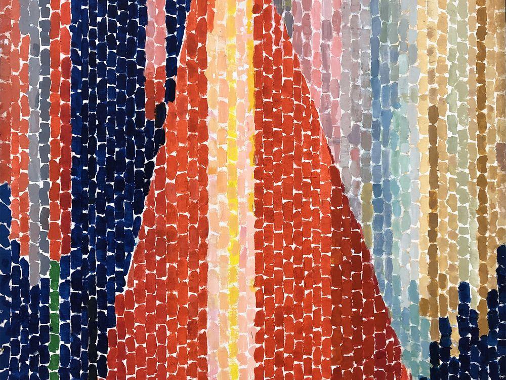 Alma W. Thomas, Blast Off, 1970, acrylic on canvas, 74 x 54 inches