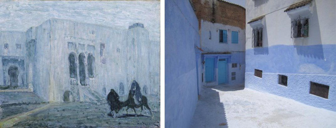 A painting of Morocco on the left and a photo on the right.