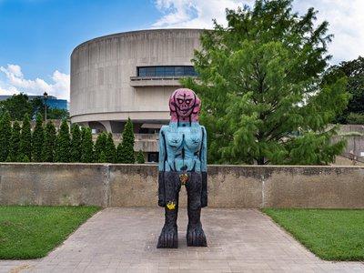 """The new artworks unveiled in the garden, including We Come in Peace by Huma Bhabha, 2018, offers visitors the opportunity to """"engage with timely issues through art,"""" says the museum's director Melissa Chiu."""