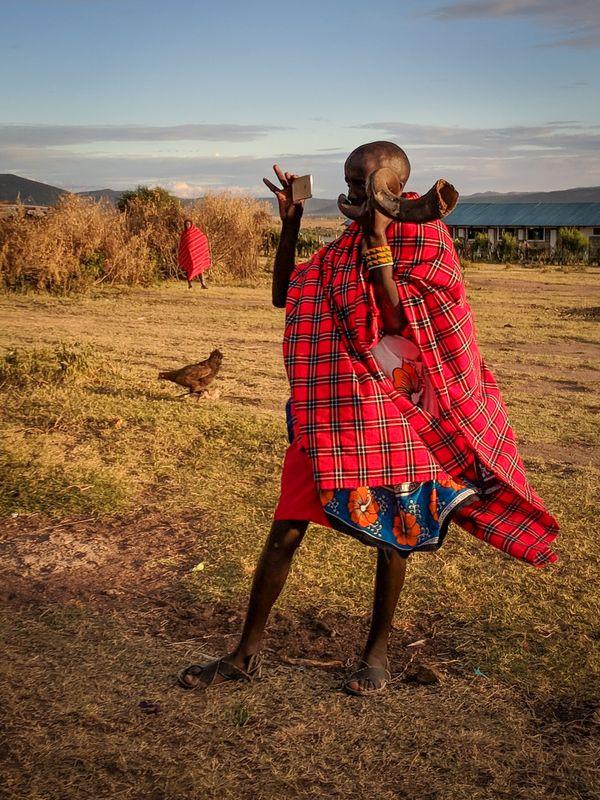 Maasai man with smartphone. thumbnail