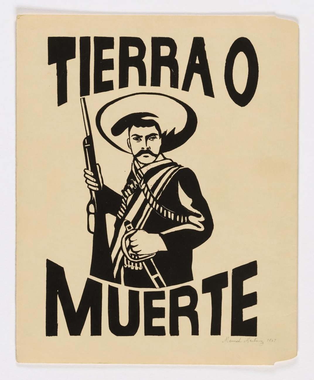 """Print of a man wearing a hat, holding a gun with the words """"tierra o muerte"""" around him."""