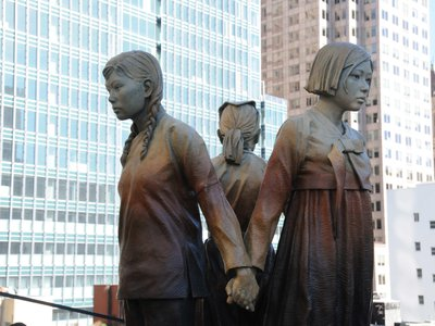 """A """"comfort women"""" monument is seen at St. Mary Square in San Francisco, the United States, on Sept. 22, 2017."""