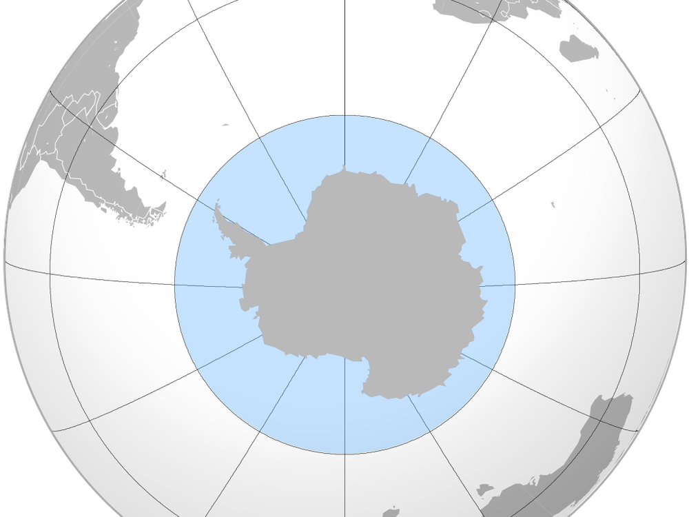 An image showing the boundaries of the Southern Ocean surrounding Antarctica
