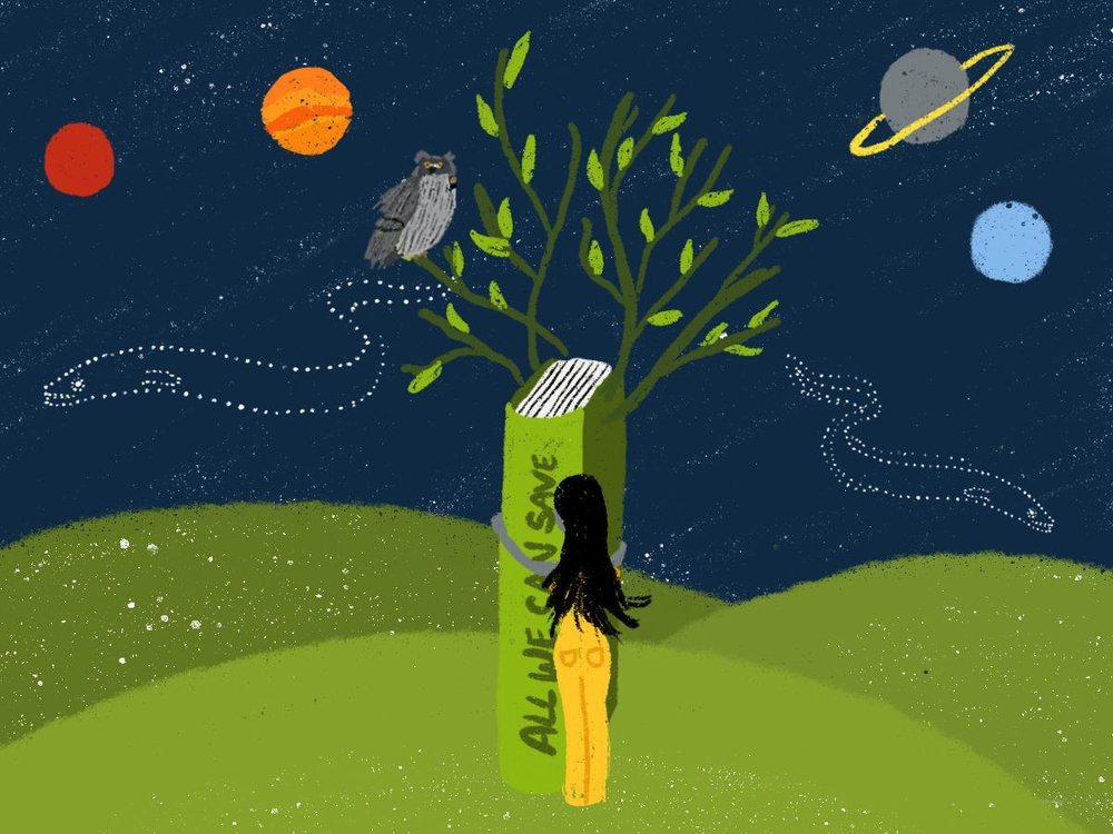 """An illustration of hillside with a tree in the middle against the backdrop of the night sky. The tree's trunk is the spine of a book titles """"All We Can Save."""" An owl sits in the tree's branches. Planets dot the night sky with two eel-shaped constellations"""