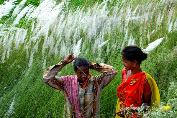 Tribal Friends. The tribal womens are  gossiping in field after their days work. thumbnail