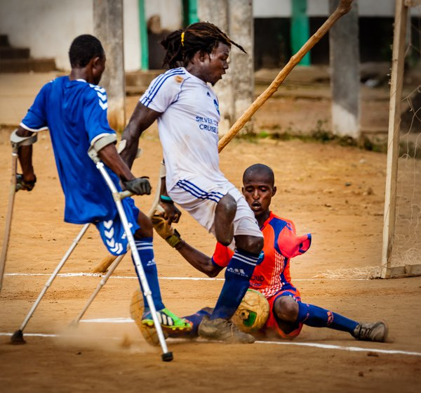 Civil War survivors play soccer in Sierra Leone, Africa thumbnail
