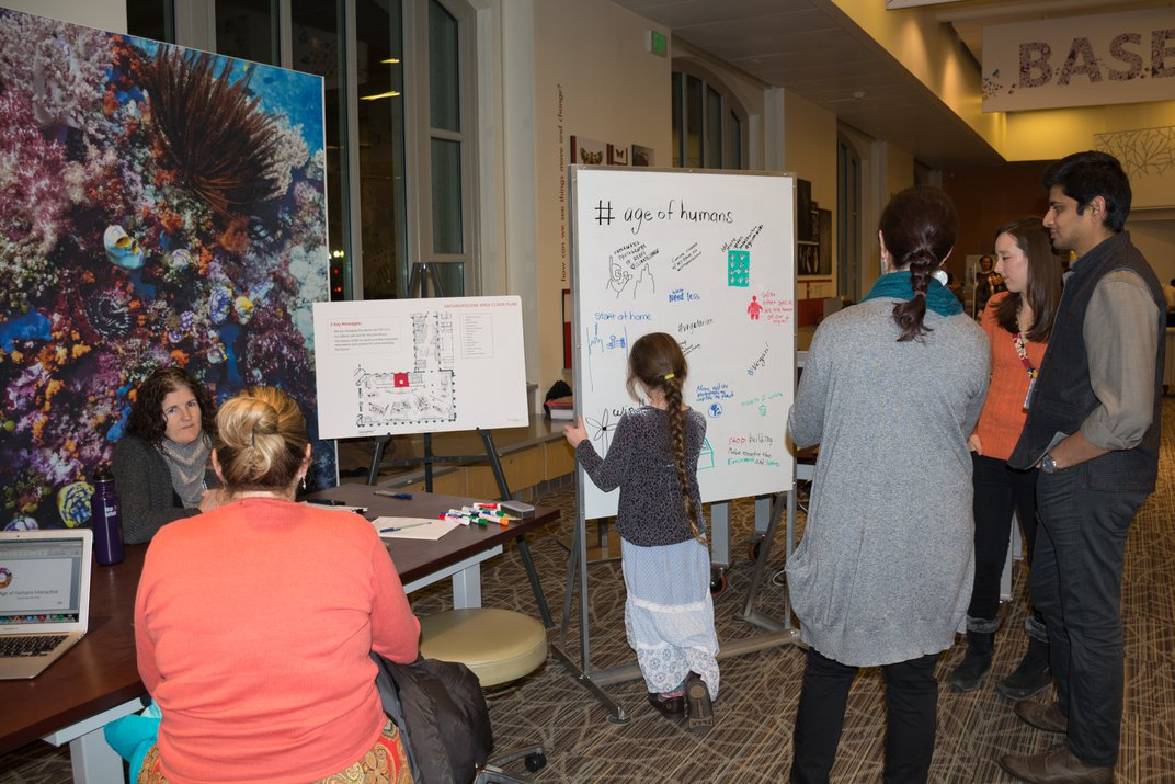 """Siobhan Starrs testing """"Deep Time"""" exhibit concepts with visitors at the Smithsonian's National Museum of Natural History"""