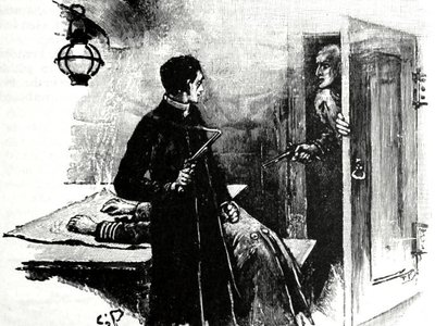 """Mutineers walk in on a chaplain """"with a smoking pistol in his hand"""" in the Arthur Conan Doyle short story """"The Adventure of the Gloria Scott."""""""