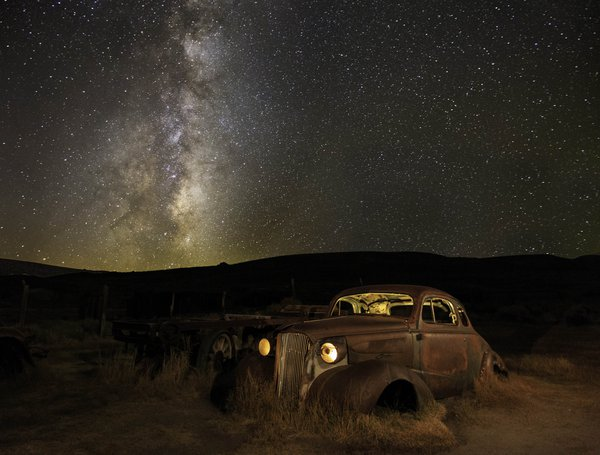 old car in ghost town with milk way thumbnail