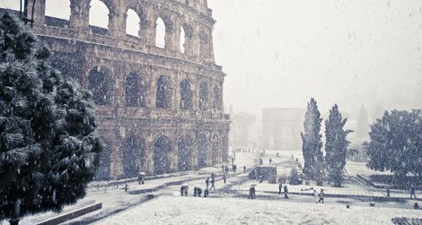A freakishly cold winter coated Rome's Colosseum in snow