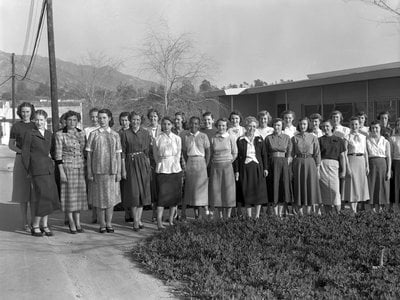 """The women """"computers"""" pose for a group photo in 1953."""
