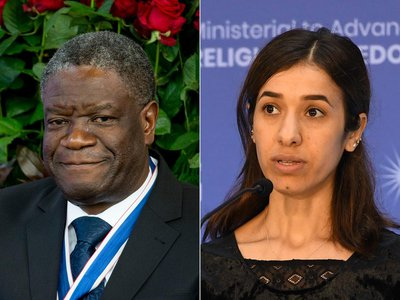 Denis Mukwege (left) and Nadia Murad (right) are this year's Nobel Peace Prize recipients
