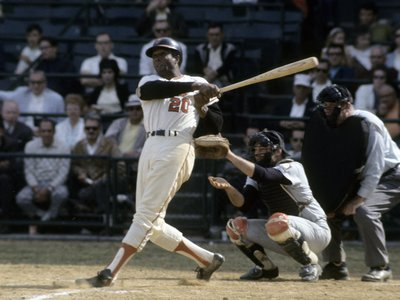 Frank Robinson taking a swing during a circa late 1960s Major League Baseball game at Memorial Stadium in Baltimore, Maryland.