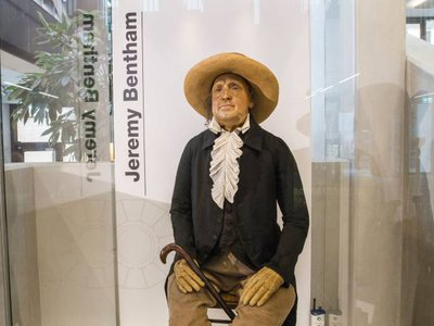 Jeremy Bentham's auto-icon is now on display in a glass case in University College London's Student Centre.