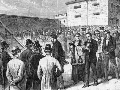 """This illustration, entitled """"THE MARCH TO DEATH,"""" depicts Molly Maguire members on the way to the gallows in Pottsville, Pennsylvania."""