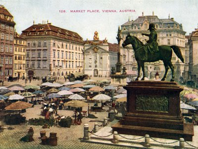 """In the tranquility of old Vienna, Stefan Zweig writes, one could never """"dream how dangerous man can be."""" This 1901 photograph shows a city market."""