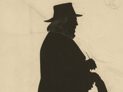 """Silhouette of Horace Greeley made by profile artist William H. Brown in 1872, the year Greeley died. Greeley changed journalism in America, considering himself to be a """"Public Teacher"""" who exerted """"a resistless influence over public opinion … creating a community of thought of feeling … giving the right direction to it."""""""