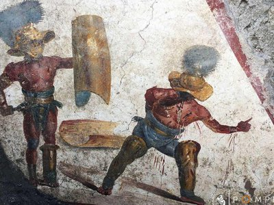 The scene features a wounded gladiator appealing for mercy