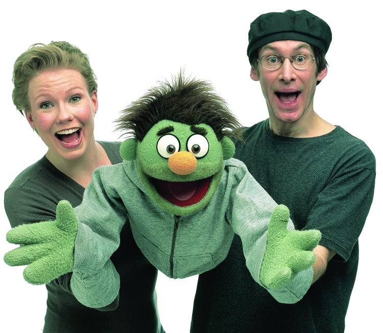 Jennifer Barnhart and Rick Lyon with the Avenue Q puppet, Nicky. Barnhart and Lyon will speak at a Smithsonian Associates event on April 27.