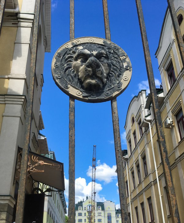 Lion print on the gate against the background of the city and the sky. thumbnail